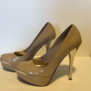 Delicious platform heels tan and silver